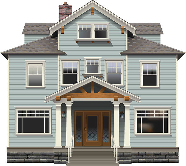 Classic Three Story House An early 1900s timber home with multiple stories.  front stoop stock illustrations