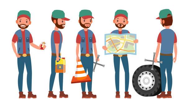 ilustraciones, imágenes clip art, dibujos animados e iconos de stock de vector de conductor de camión clásico. conductor automóvil divertido profesional retro. detective, disfrazar. ilustración de dibujos animados plana - conductor de autobús
