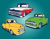 A vector illustration of 3 old classic pickup trucks.