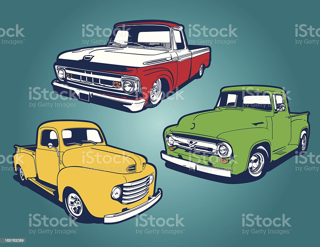 Classic Trucks vector art illustration