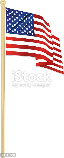 Classic USA flag waving in the wind, with shiny gold flagpole. Red, white, and blue flag with 50 stars.