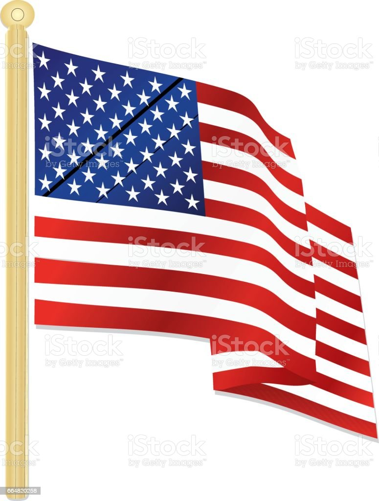 Classic USA Flag Waving in the Wind, with Gold Flagpole vector art illustration