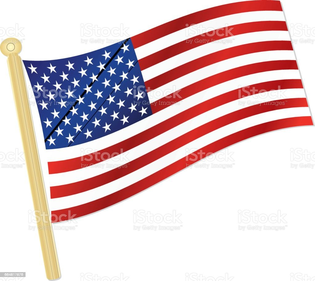 classic usa flag waving in the wind with silver flagpole stock rh istockphoto com clipart american flag waving free clip art waving american flag