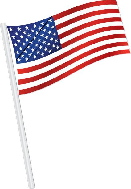 Classic USA Flag Waving in the Wind, with Silver Flagpole vector art illustration
