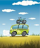 Detail illustration of classic van on off road with mountain bikes