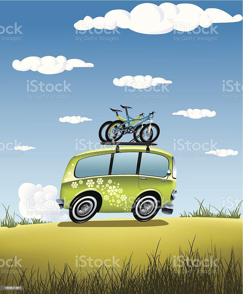 Classic van on adventure trip vector art illustration