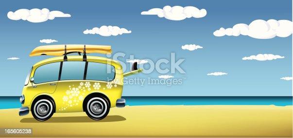 istock Classic van on the beach 165605238