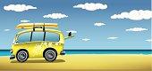 Classic van on the beach