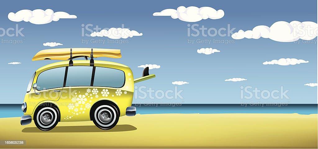 Classic van on the beach vector art illustration