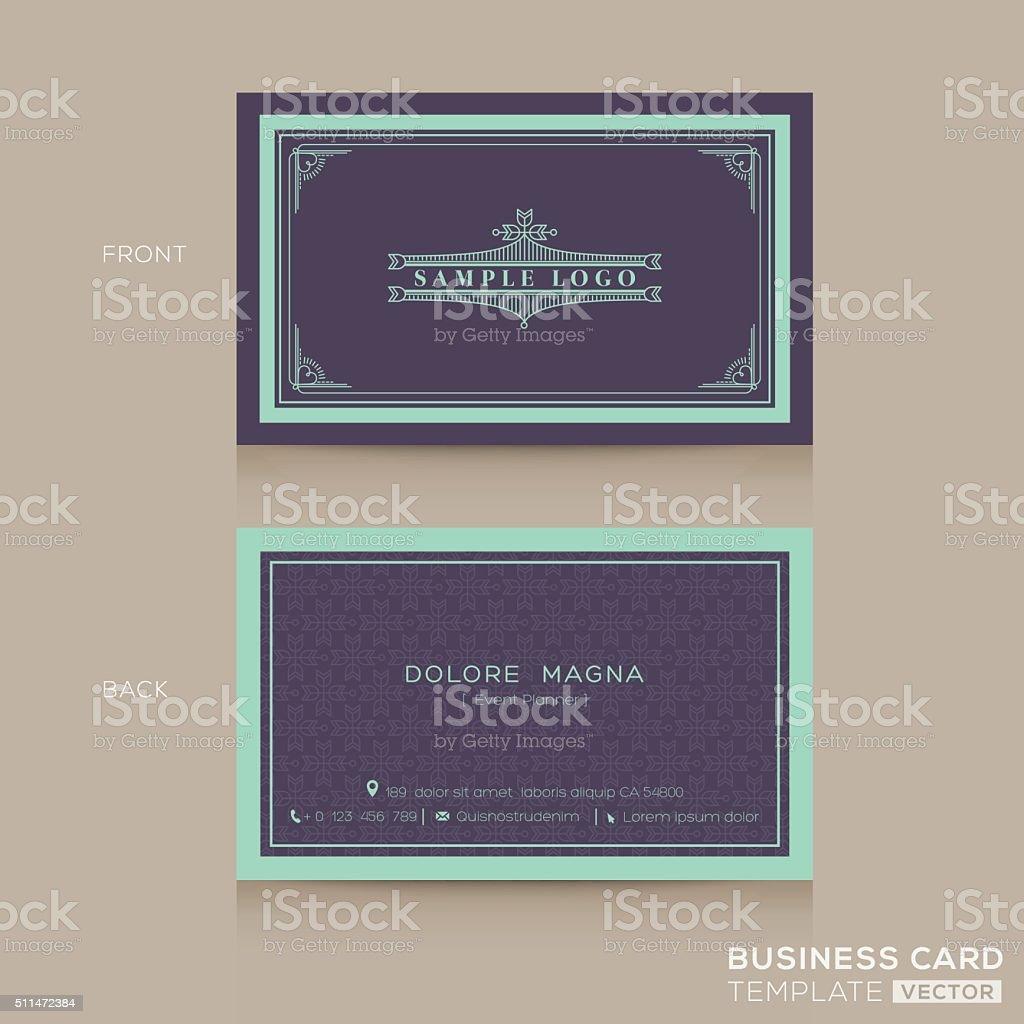Classic Vintage Business Card Namecard Template stock vector art ...