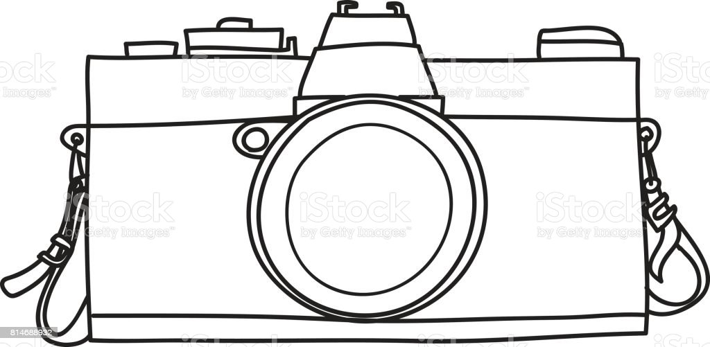 Classic Vintage Camera Hand Drawn Line Art Vector Illustration Royalty Free