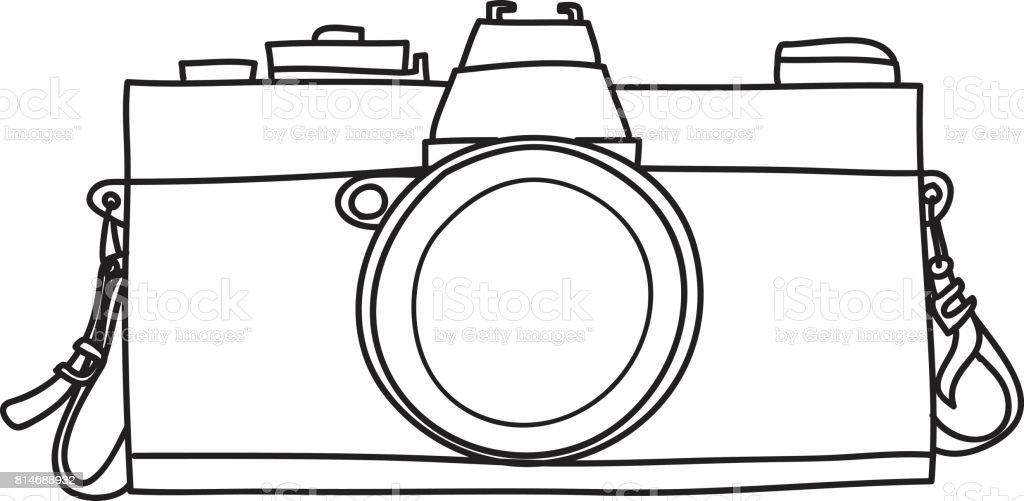 Classic Vintage Camera Hand Drawn Line Art Vector Illustration Royalty Free
