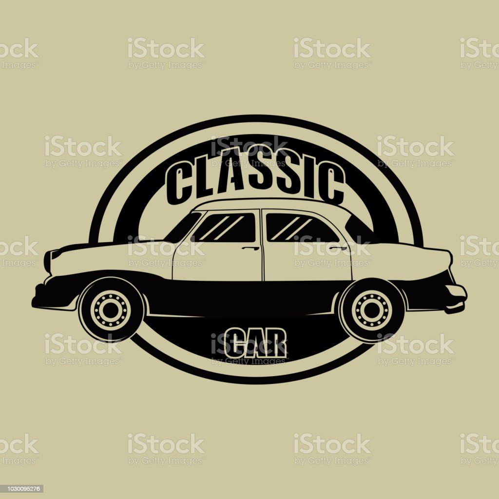 Classic Vintage Car Symbol Vector Stock Vector Art More Images Of