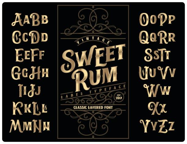 "classic vintage decorative font set named ""sweet rum"" with label design template - alphabet borders stock illustrations"