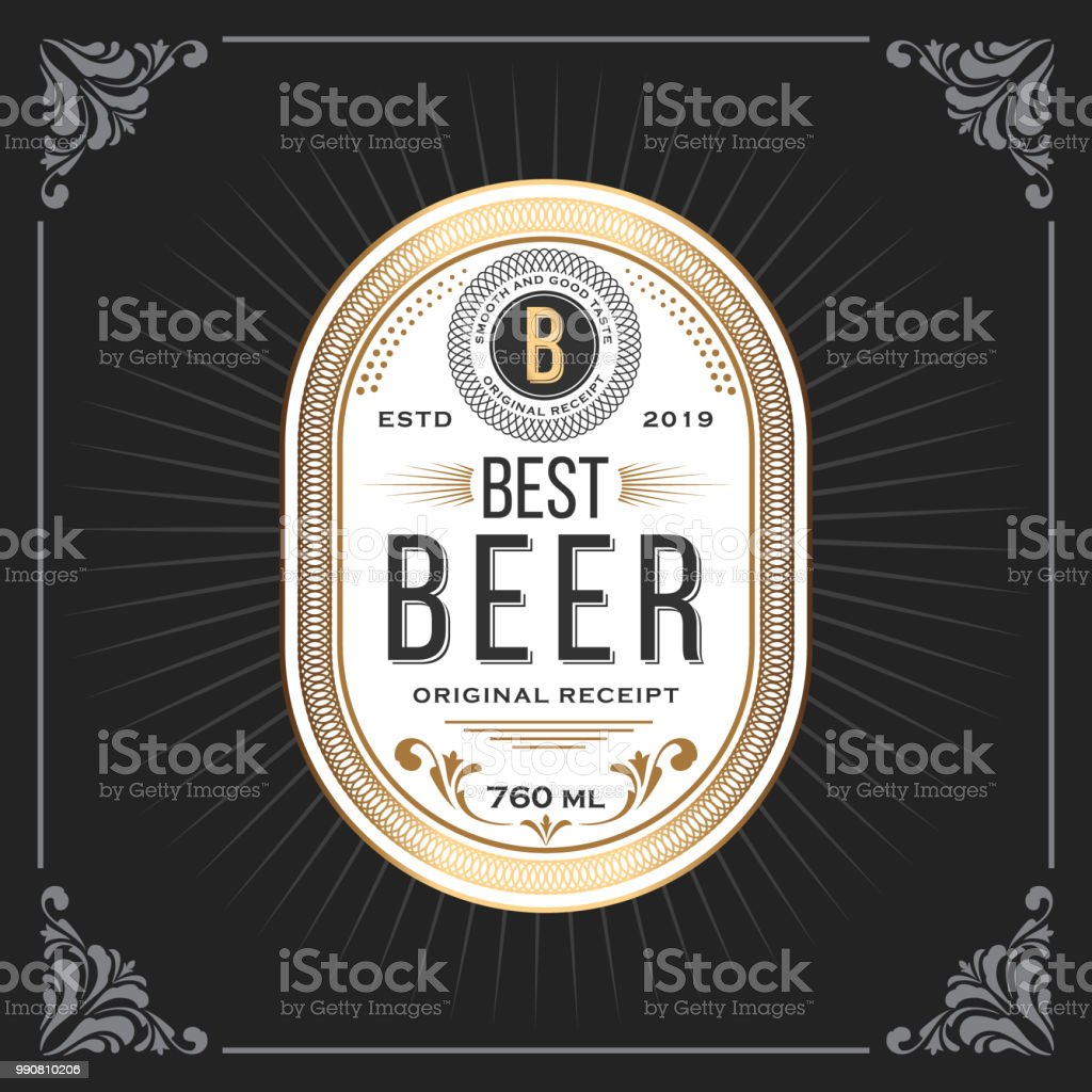 Classic vintage frame for beer labels banner vector art illustration
