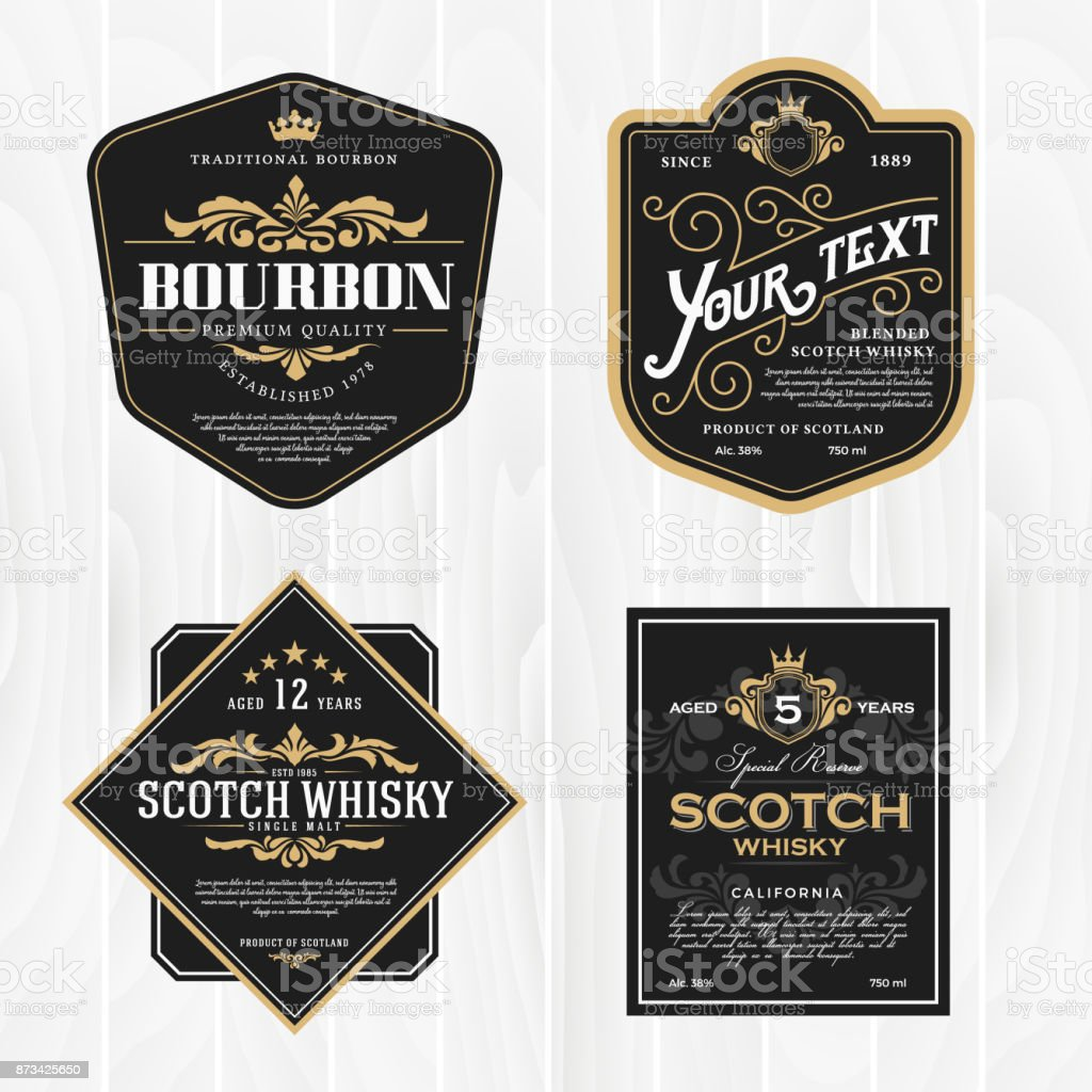 Classic vintage frame for whisky labels - illustrazione arte vettoriale