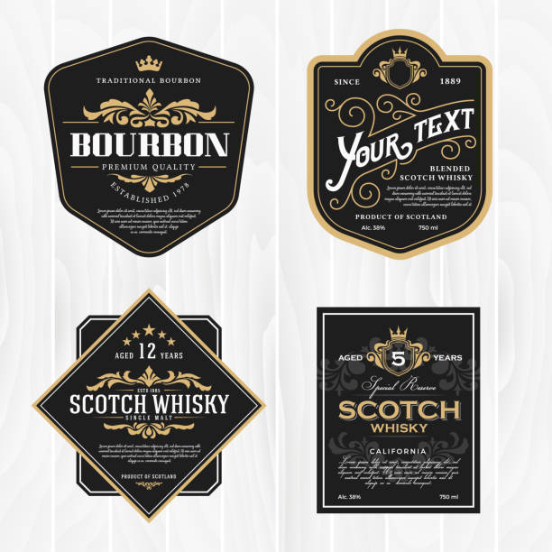 Classic vintage frame for whisky labels Classic vintage frame for labels, banner and other design. Suitable for whiskey, beer and premium product. label stock illustrations
