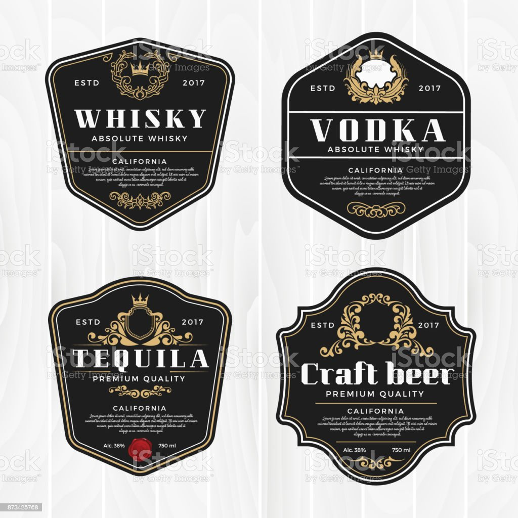 Classic vintage frame for whisky labels vector art illustration