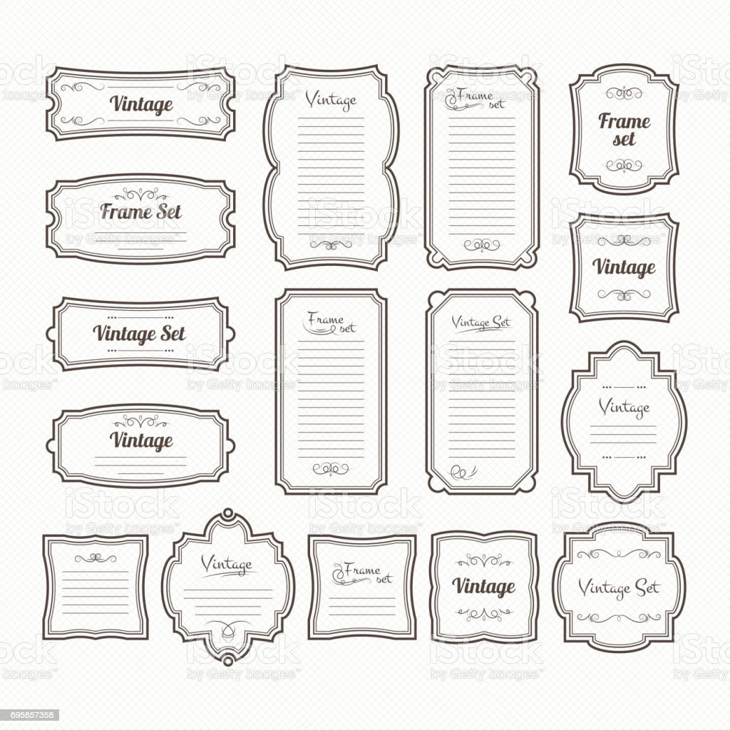 Classic vintage frames set. Vector borders isolate on white vector art illustration