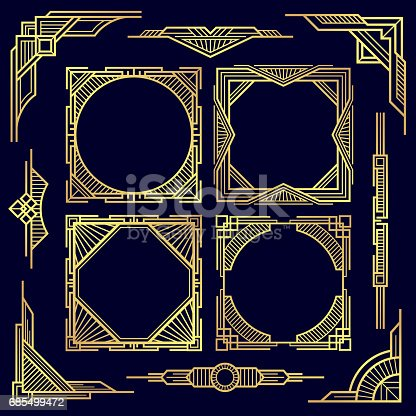 Classic vintage geometric frames and border, old deco art corners and design line elements vector set. Golden frame pattern illustration
