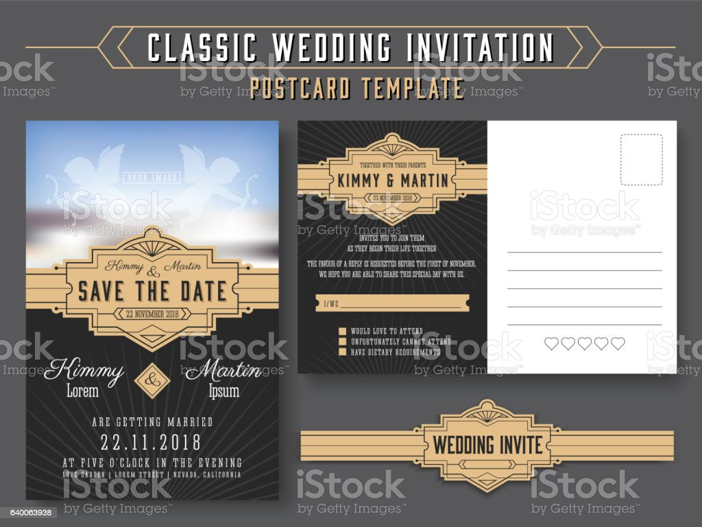 Classic vintage wedding invitation card design vector art illustration