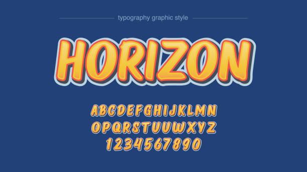 ilustraciones, imágenes clip art, dibujos animados e iconos de stock de clásico vintage amarillo 3d dibujos animados tipografía - tipos de letra de burbujas