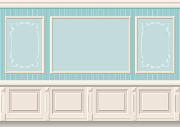 классические стены вставками - карниз stock illustrations