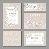 Classic wedding vintage invitation cards with roses and floral elements vector templates. Invitation card wedding with floral vintage pattern illustration