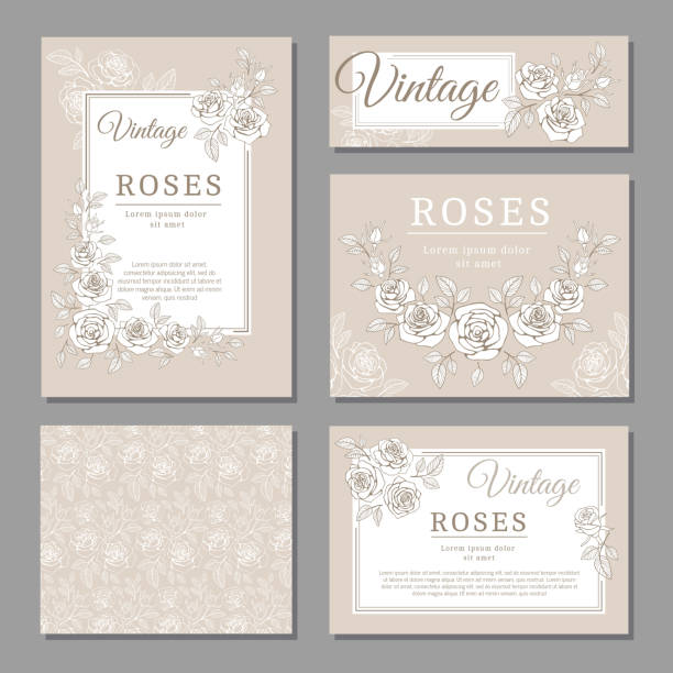 classic wedding vintage invitation cards with roses and floral elements vector templates - wedding invitation stock illustrations, clip art, cartoons, & icons