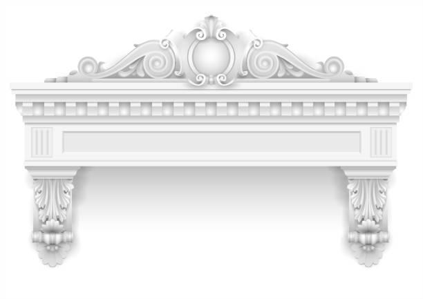 klassischen weißen architektonische fenster- und fassadenbau dekor - gesims stock-grafiken, -clipart, -cartoons und -symbole