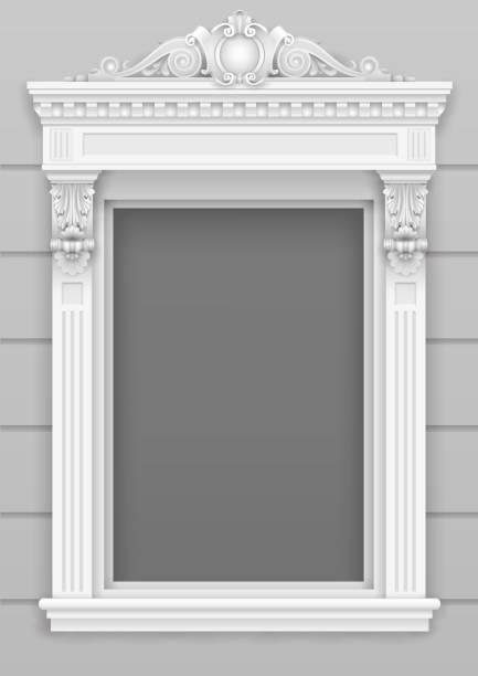 klassische weiße architektonische fassade fensterrahmen - gesims stock-grafiken, -clipart, -cartoons und -symbole