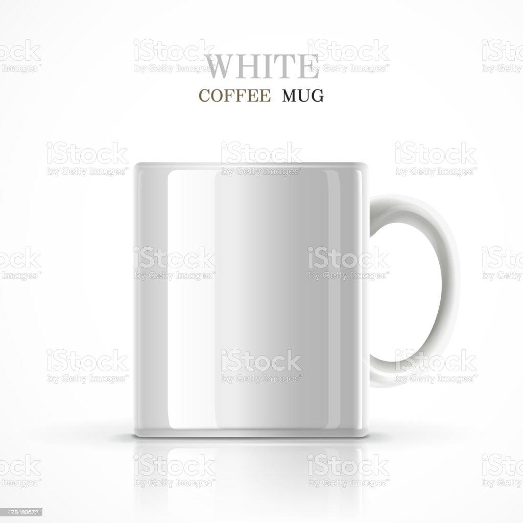 classic white mug vector art illustration