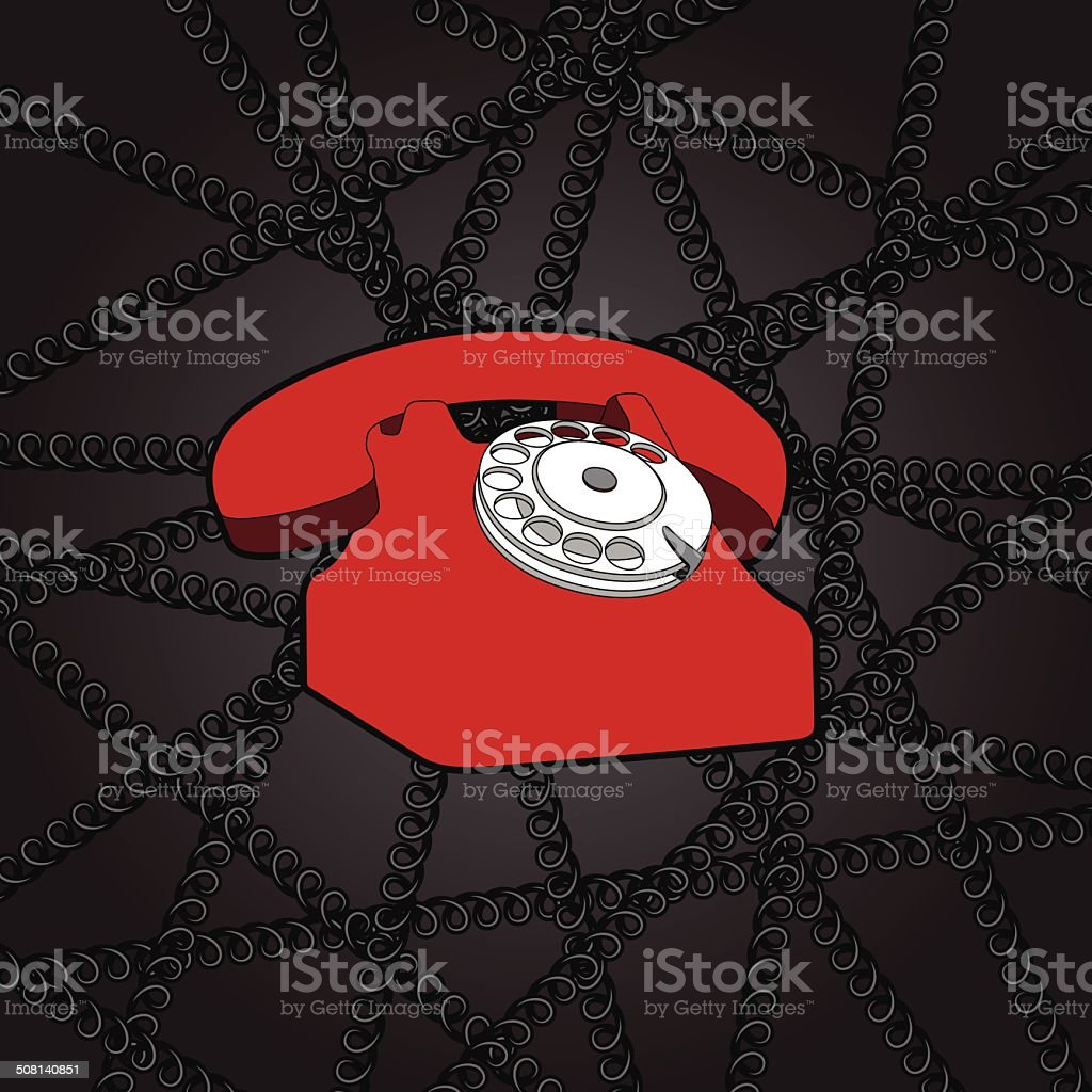 classic wire telephone royalty-free stock vector art