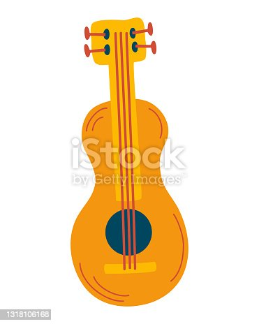 istock Classic wooden guitar. Stringed musical instruments. Rock or jazz equipment. A great item for a music festival. Vector cartoon illustration. 1318106168