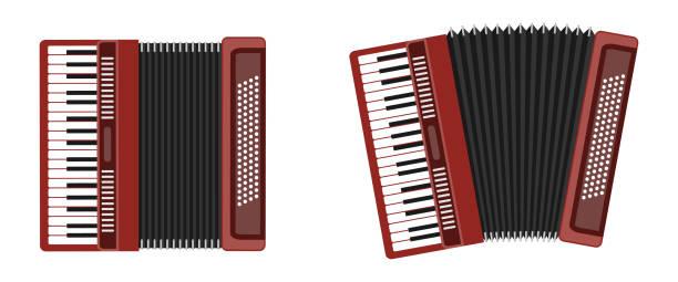 Klassisches Akkordeon, harmonisch, Jew's-harp. Musikinstrument. Akkordeon, isoliert auf weißem Hintergrund. Akkordeon-flach-Symbol. – Vektorgrafik