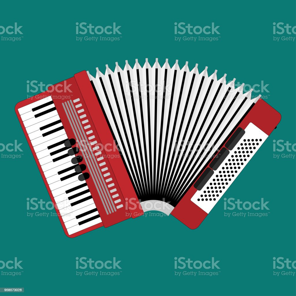 Acordeón clásico. Instrumento musical. Acordeón estilo plano. Ilustración realista - ilustración de arte vectorial