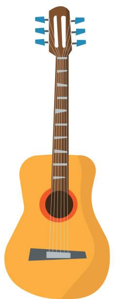 classical acoustic guitar vector illustration - instrument strunowy stock illustrations