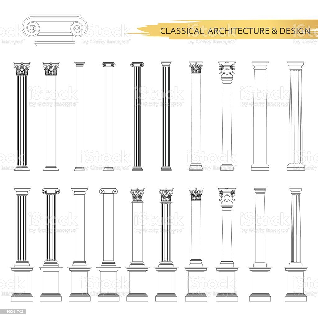 Classical architectural column drawings in set. Vector drawing design elements vector art illustration