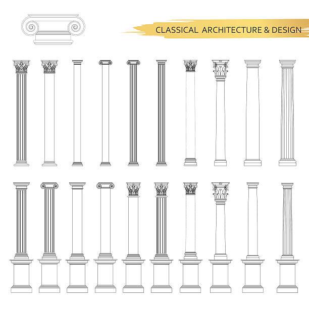 klassische architektur spalte zeichnungen in der. vektor-zeichnung-elementen - gesims stock-grafiken, -clipart, -cartoons und -symbole