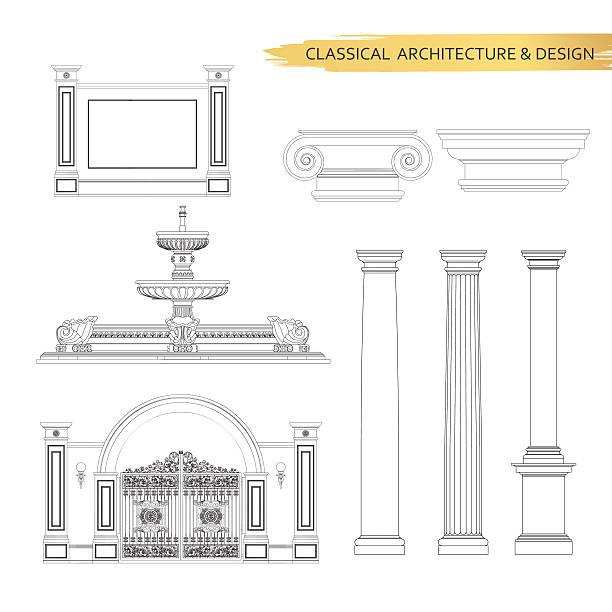 klassische architektur-zeichnungen in das formular. vektor-zeichnung-elementen - gesims stock-grafiken, -clipart, -cartoons und -symbole