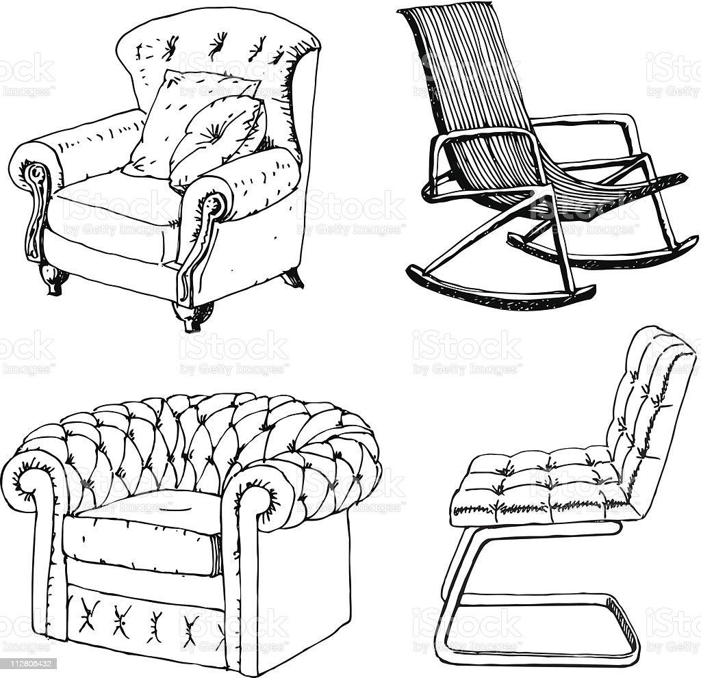 Sessel skizze  Klassische Sessel Vektor Illustration 112806432 | iStock