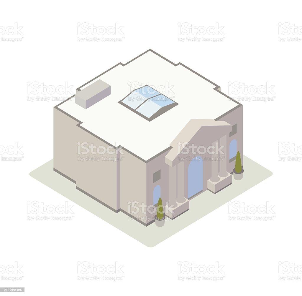 Classical bank building illustration vector art illustration