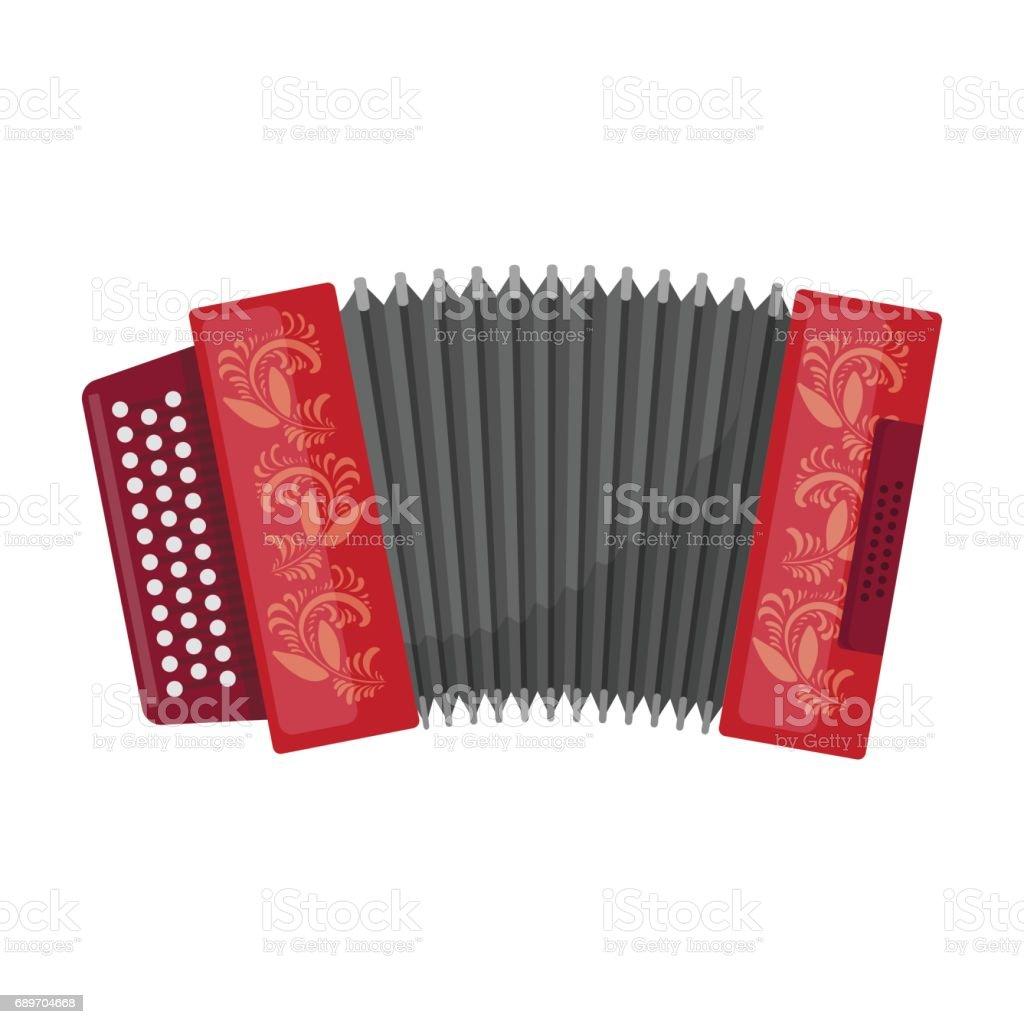 Klassische Bajan, Akkordeon oder harmonische Symbol im Cartoon-Stil, die isoliert auf weißem Hintergrund. Russische Land Symbol Lager Vektor-Illustration. – Vektorgrafik