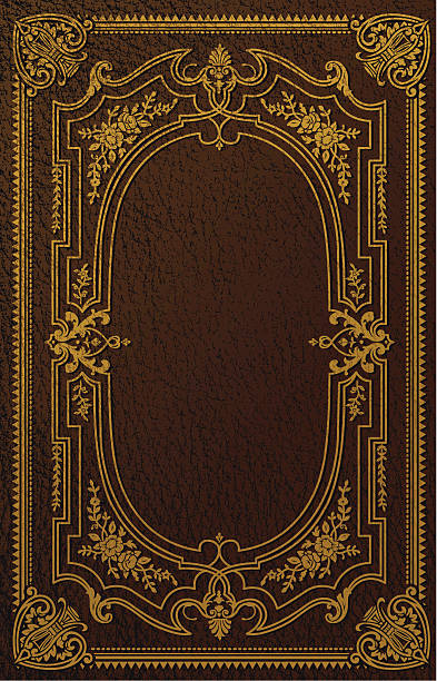 Classical Book Cover Design An antique style design made to look like foil printed on a worn leather book. Leather texture can be easily removed. Elements are organized into layers for easy adjustments. book borders stock illustrations