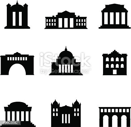 Decent and classy looking building icons ideal for street maps, tourist guides, travel portals and other cultural purposes. Skylines can be made very easily with this set.