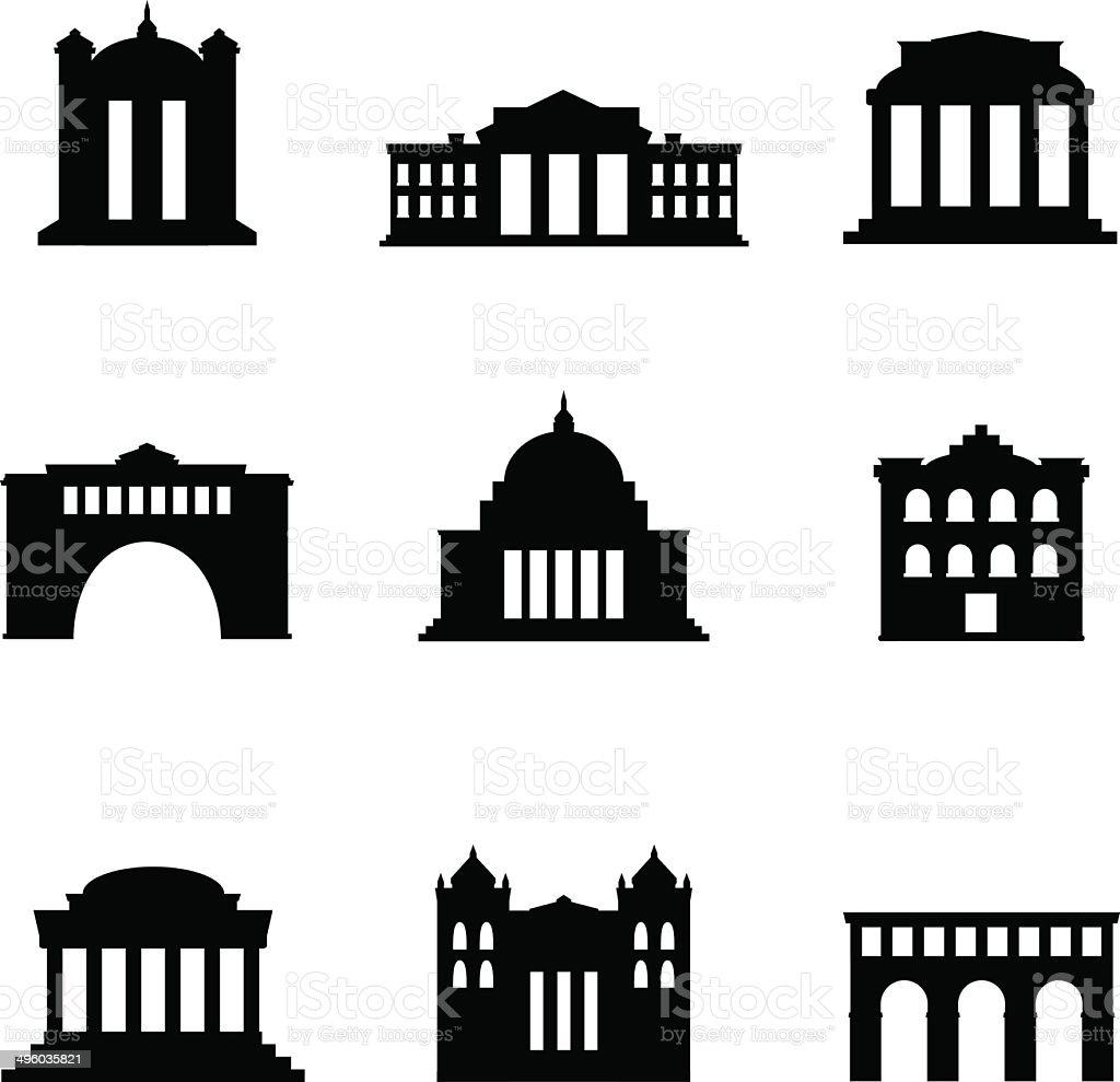 Classical Buildings vector art illustration