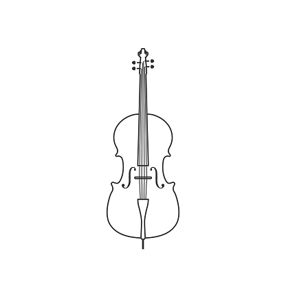 Classical cello black and white icon. Isolated Vector String ill.