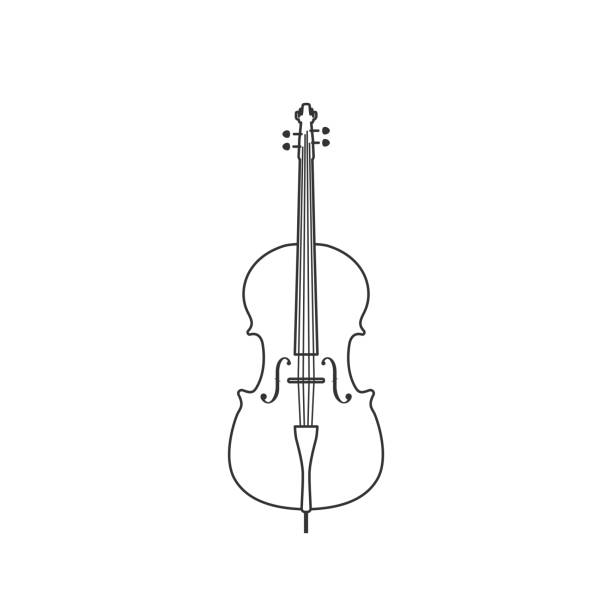 classical cello black and white icon. isolated vector string ill. - instrument strunowy stock illustrations