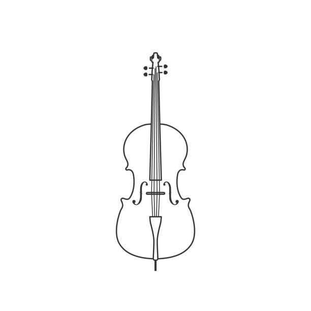 bildbanksillustrationer, clip art samt tecknat material och ikoner med klassisk cello svart och vit ikon. isolerad vektor sträng sjuk. - violin