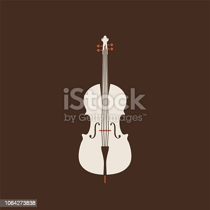 Classical cello vector flat illustration isolated on brown background. Strings musical instruments set